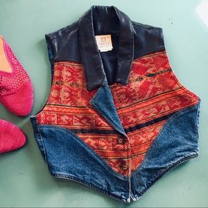 Rare Vintage Leather & Denim Vest